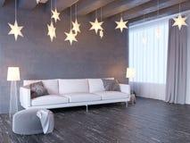 Wyśmiewa w górę plakata z rocznika modnisia minimalizmu pastelowego loft wewnętrznym tłem, 3D rendering, 3D ilustracja Obrazy Royalty Free