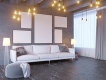 Wyśmiewa w górę plakata z rocznika modnisia minimalizmu pastelowego loft wewnętrznym tłem, 3D rendering, 3D ilustracja Ilustracji