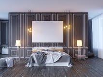 Wyśmiewa w górę plakata z rocznika modnisia minimalizmu pastelowego loft wewnętrznym tłem, 3D rendering, 3D ilustracja Royalty Ilustracja