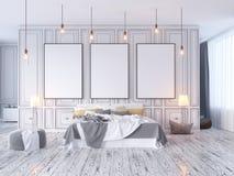 Wyśmiewa w górę plakata z rocznika modnisia minimalizmu pastelowego loft wewnętrznym tłem, 3D rendering, 3D ilustracja Ilustracja Wektor