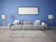 Wyśmiewa w górę przestronnego żywego pokoju z oryginalną wielką kanapą ilustracji