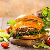 Wyśmienicie bagel hamburger Obraz Royalty Free