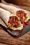 Wyśmienicie meksykanów opakunki z korzennym Chili con carne Fotografia Royalty Free