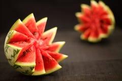 Wyśmienicie organicznie wodni melonów plasterki Obraz Stock