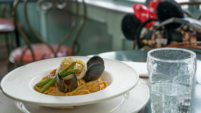 Wyśmienicie owoce morza spaghetti Zdjęcia Royalty Free