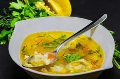 Wyśmienicie polewka z warzywami i ryba na czarnym tle Zdjęcia Royalty Free