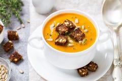 Wyśmienita marchewki lub bani polewka z croutons Obraz Royalty Free