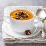 Wyśmienita marchewki lub bani polewka z croutons Zdjęcie Stock
