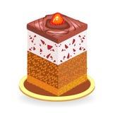 Wy?mienity jedzenie Kawa?ek wy?mienicie czekoladowy tort Słodkość dekoruje z jagodami truskawki i słodkie wiśnie royalty ilustracja