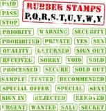 wy rubber stämplar för samlingspq royaltyfri illustrationer