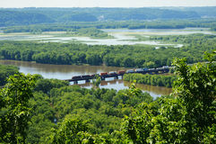 Wyalusing State Park - Train. A train passing through Wyalusing State Park at the confluence of the Mississippi and Wisconsin rivers in the town of Wyalusing Stock Photo