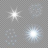Wybór światło gra główna rolę na przejrzystym tle Błękitny wektorowy świecenie dla twój projekta ilustracji
