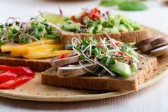 Wybór avocado grzanki na zbożowym chlebie Zdrowy opierający się obraz royalty free