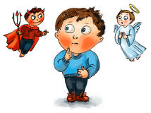 Wybór między bóg i diabeł royalty ilustracja
