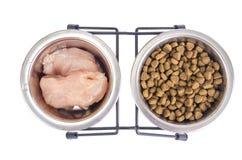 Wybór między naturalnym mięsem i suchym zwierzęcia domowego jedzeniem zdjęcie stock