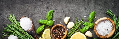 Wybór pikantność zielenie na czarnym odgórnym widoku i ziele fotografia stock