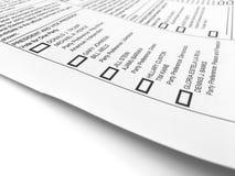 2016 wybór powszechny tajnego głosowania forma Zdjęcia Stock