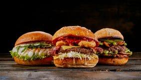 Wybór trzy różnego wyśmienitego hamburgeru Fotografia Royalty Free