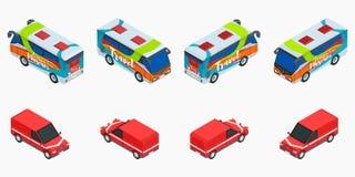 Wybór wycieczkowi autobusy i czerwony isometric samochodu zapas ilustracja wektor
