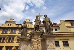 Wybawiciel i święta statua Cosmas i Damian Fotografia Royalty Free
