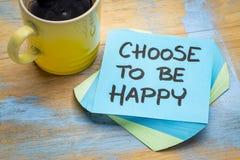 Wybiera być szczęśliwym notatką z kawą obrazy royalty free