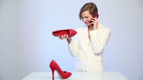wybiera but kobiety Rozmowy telefonicza zbiory wideo
