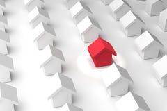 Wybiera twój najlepszy dom, szuka twój dom, 3D renderingu ilustracja real nieruchomości różny czerwony dom royalty ilustracja