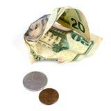 Wybijamy monety Dwadzieścia i błahostka na Białym tle Zdjęcie Royalty Free