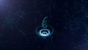 Wyborowy 3d euro znak Astronautyczny błękitny cyberprzestrzeni tło z połączeniami z internetem Euro waluta jest na trzy wirtualny ilustracji