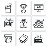 Wybory ikony również zwrócić corel ilustracji wektora ilustracji
