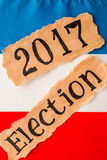 Wybory 2017, inskrypcja na poszarpanym papieru prześcieradle Obrazy Stock