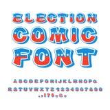 Wybory komiczki chrzcielnica Polityczna debata w Ameryka abecadle USA N Zdjęcia Stock
