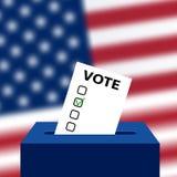 Wybory USA senat w 2018, przygotowanie głosowanie przeciw tłu zamazana flaga amerykańska royalty ilustracja