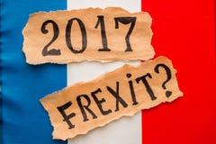 Wybory w Francja FREXIT 2017 inskrypcja na poszarpanym papieru prześcieradle Fotografia Royalty Free