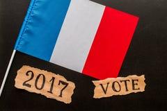 Wybory w Francja Głosuje, 2017, inskrypcja na zmiętym kawałku Fotografia Royalty Free