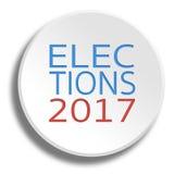 Wybory 2017 w round białym guziku z cieniem Fotografia Royalty Free