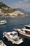 wybrzeże amalfi łodzi schronienia fotografia royalty free