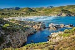 Wybrzeże Corsica i Ostriconi plaża Zdjęcie Stock