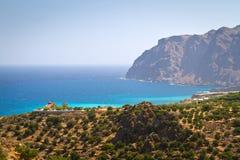 Wybrzeże Crete z drzewami oliwnymi Zdjęcia Royalty Free