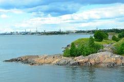 Wybrzeże Finlandia Wyspa Suomenlinna w morzu bałtyckim obraz royalty free