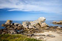 Wybrzeże kerlouan Finistere, Brittany, Francja zdjęcia stock