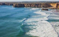 Wybrzeże Południowy Portugalia, Algarve region, Atlantycki ocean Zdjęcia Royalty Free
