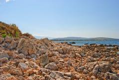 Wybrzeże wyspa Pag przegapia morze śródziemnomorskie Zdjęcia Stock
