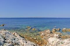 Wybrzeże wyspa Pag przegapia morze śródziemnomorskie Obrazy Royalty Free