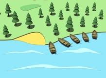 Wybrzeże z łodziami Kreskówka, 3D ilustracja Fotografia Stock