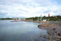 Wybrzeże zatoka Finlandia w mieście Hanko w Czerwa popołudniu Finlandia Obraz Royalty Free