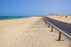 Wybrzeże blisko Corralejo, wyspa kanaryjska Fuerteventura, Zdjęcie Royalty Free
