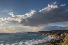 Wybrzeże Cypr blisko antycznego miasta Curio, Limassol Obraz Stock