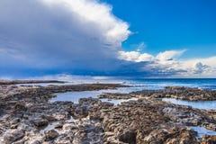 Wybrzeże Cypr blisko antycznego miasta Curio, Limassoluins Fotografia Royalty Free