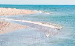 Wybrzeże morze z fala Paraleli fala linie, Zdjęcie Stock